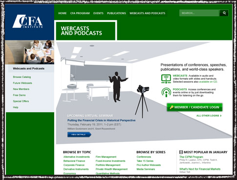 Website screenshot of CFA Webcasts