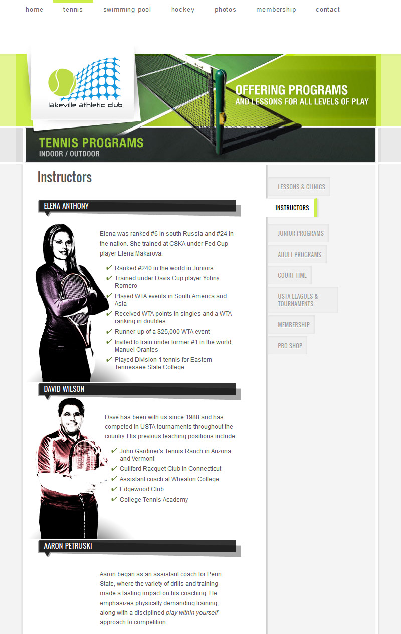 Tennis instructors page