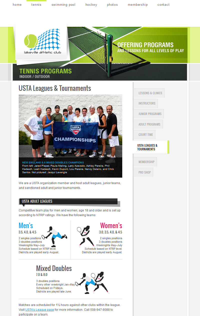 Leagues and Tournaments page