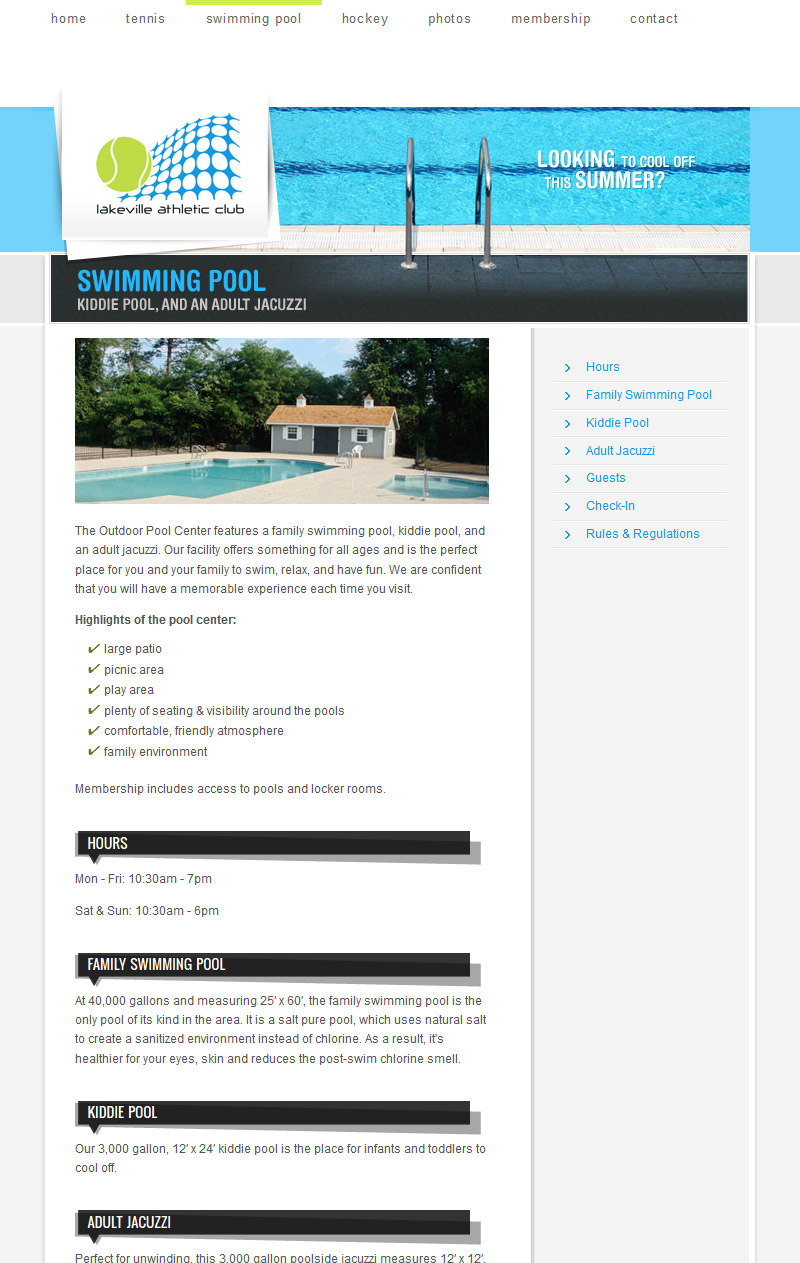 Swimming Pool Center page
