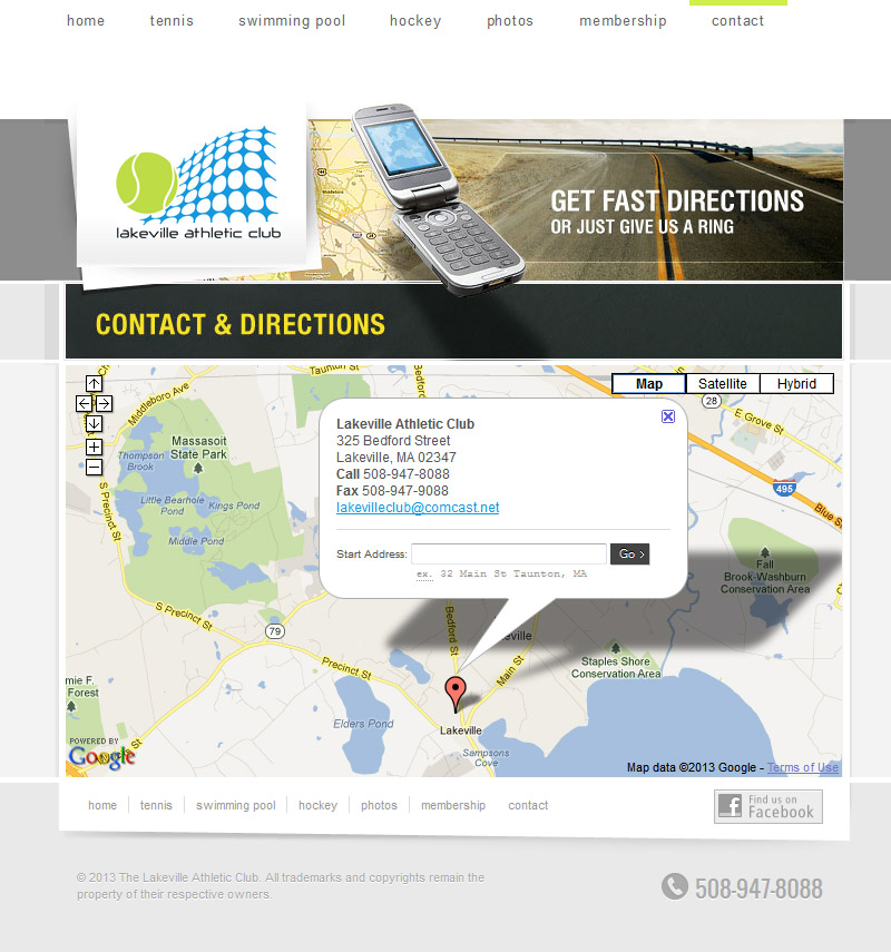 Contact and Directions page