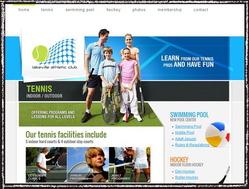 Website screenshot of Lakeville Athletic Club