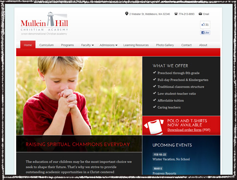 Website screenshot of Mullein Hill Christian Academy