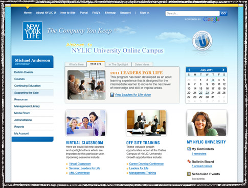 Website screenshot of New York Life University